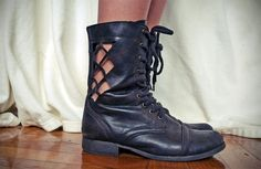 Create your own pattern on a pair of distressed combat boots and xacto-knife away to get this edgy, laser-cut look.