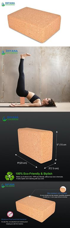 Cork Yoga block Yoga Brick, Natural Eco friendly Premium Quality Odor and Stain Resistant Cork Yoga block best for men and women to support and deepen yoga poses by Dhyana Yoga Essentials