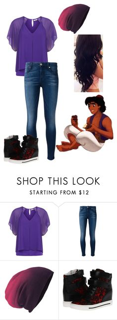 """The Daughter of Aladdin and Jasmine"" by staybeautiful-273 ❤ liked on Polyvore featuring Kaliko, 7 For All Mankind, Marc by Marc Jacobs, disney, aladdin, disneycharacter and disneydescendants"