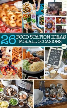 26 Build Your Own Food Bar Ideas Perfect for Parties, Showers, and Even Family Movie Nights! These food station ideas are brilliant – just what I need for impressing my dinner party guests! Cooking For A Crowd, Food For A Crowd, Party Food Bars, Party Food Themes, Food For Party Buffet, Cheap Party Food, Diy Party Food, Parties Food, Wedding Food Stations