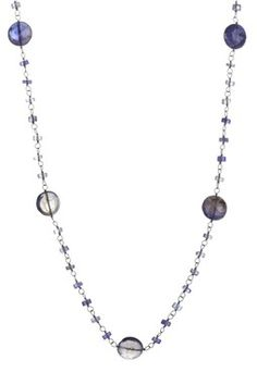 Beaded Round Iolite Long Necklace
