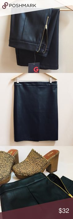 """Guess Black Faux Leather Pencil Skirt Gorgeous faux leather skirt, zippered back closure, lightweight and slightly stretchy, new with tag, waist 16"""" length 22"""", size large, fabric polyester coated polyurethane Guess Skirts"""