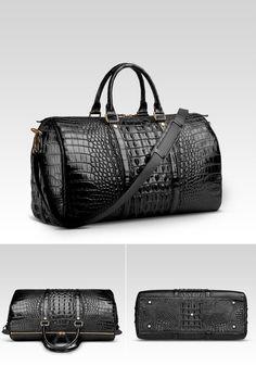 Crocodile leather travel weekender overnight duffel bag for sale. Women's Duffel Bags, Backpack Bags, Fashion Handbags, Fashion Bags, Mens Overnight Bag, Leather Duffle Bag, Leather Card Wallet, Luxury Bags, Bag Sale