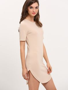 Online shopping for Apricot Round Neck Short Sleeve Dress from a great selection of women's fashion clothing & more at MakeMeChic.COM.