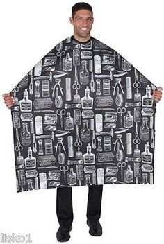 "BETTY DAIN #188S Hair cutting/styling cloth barber cape, (Black) 45"" x 60"" long"