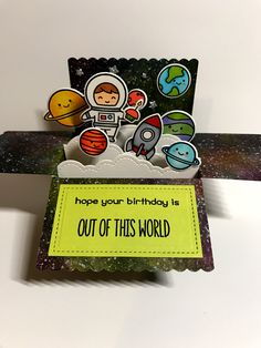 Lawn Fawn scalloped box card pop-up and out of this world. By Apearl B Card In A Box, Pop Up Box Cards, Tarjetas Diy, Exploding Box Card, Lawn Fawn Stamps, Interactive Cards, Handmade Birthday Cards, Kirigami, Copics