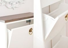ikea bissa hack - 4 double BISSAs would fit in the front hall. Wood on top stained to match floors and crystal knobs.