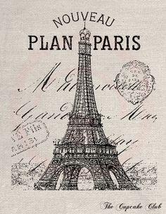 Clip Art Design Transfer Digital File Vintage by thecupcakeclub paris etiqueta blanco Tour Eiffel, Vintage Labels, Vintage Postcards, Art Clip, Paris Landmarks, French Typography, France Eiffel Tower, Images Vintage, Paris Images