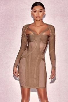 Nothing turns heads like this long sleeve bandage dress. Its figure-hugging  silhouette and 24a4fad41