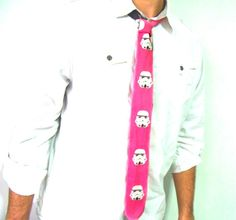 Storm Trooper Pink Black Star Wars Thin NeckTie on Etsy, $32.00 star wars wedding cotton tie