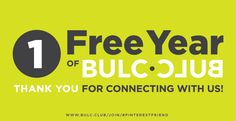Thank you for following us on Pinterest. To show our appreciation, have a free year of Bulc Club, on us: https://www.bulc.club/join/#pinterestfriend