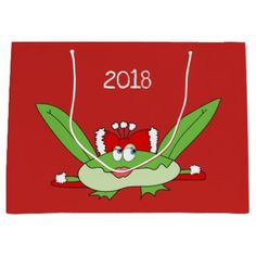 Christmas Lady Frog Cute Funny Charming Red Trendy Large Gift Bag - New Year's Eve happy new year designs party celebration Saint Sylvester's Day