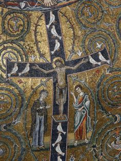12th Century Fresco of Christ's Triumph on the Cross, San Clemente Basilica, Rome, Lazio Photographic Print