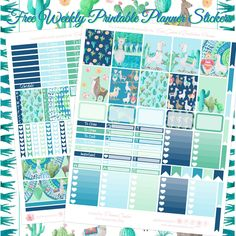 Free Llama & Cactus Printable Planner Spread For EC & Recollections Planner + Bonus Deco Sheet