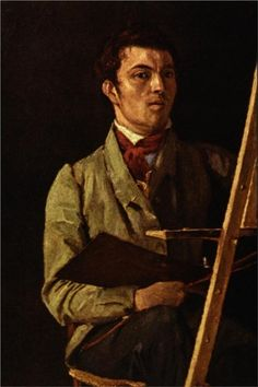 """""""Self-portrait""""  --  1825  --  Camille Corot  --  French  --  Oil on paper, mounted on cancas  --  The Louvre  --  Paris, France"""