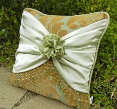 18in Sage and Gold Frenchie Throw Pillow Cover by Derilyn