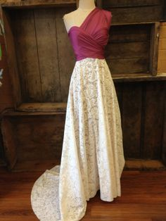 Infinity Convertible Wrap Dress with Train -Country Knitted Lace-with any solid color on Etsy, $189.99