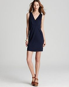 Three Dots V Neck Pleated Front Dress | Bloomingdale's