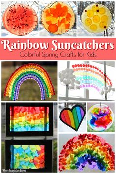 10 Fun Rainbow Suncatcher Crafts for Kids - Simple and fun rainbow suncatcher crafts that kids can make for spring. Easy art and craft projects for toddlers and preschoolers with a colorful rain. Toddler Arts And Crafts, Easy Arts And Crafts, Spring Crafts For Kids, Arts And Crafts Projects, Projects For Kids, Art For Kids, Science Projects, Rainbow Activities, Rainbow Crafts