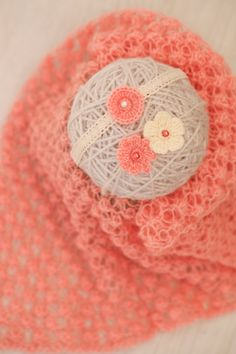 SET Knitted Newborn Coral Angora Wrap & 2 Handmade Tiebacks / Coral Ivory Newborn Headband Set / Set of Tiebacks / Newborn Photography Props by SoftButterflyKiss on Etsy