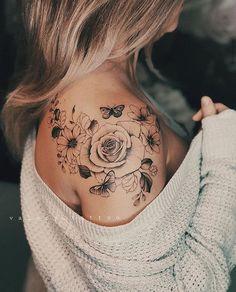 Flower Tattoos Sketch Polynesian Tattoos Back Arm Tattoos, Rose Tattoos, Body Art Tattoos, Tatoos, Thigh Tattoos Girls, Tattoos With Roses, Tribal Tattoos, Cool Tattoos For Girls, Cute Girl Tattoos