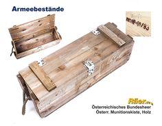 Schatzkiste: Österreichische Munitionkiste, Holz, 76x24x26 B Bundeswehr Shop Räer Hildesheim