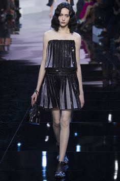 Armani Privé | Spring 2016 Couture | 49 Monochrome sequined strapless top and mini skirt