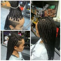Box braids hair extensions with shaved sides