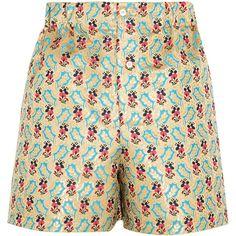 Miu Miu Floral-jacquard shorts ($790) ❤ liked on Polyvore featuring shorts, miu miu, patterned shorts, ruched shorts, multi colored shorts and flower shorts