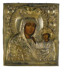 A silver-gilt icon of the Kaplonovskaya Mother of God, St Petersburg, dated 1794