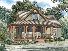 Small Country Home, 025H-0243  I like the elevation but the floor plan would need to be larger