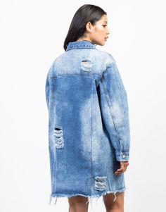 We're all about oversize everything! This blue Destroyed Oversized Denim Jacket is made from a sturdy yet soft denim fabric. Pair this jacket over a simple cami tank, destroyed denim shorts, and lace-up sneakers for an off-duty kind of vibe.