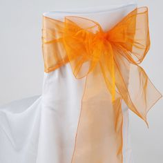 Orange Organza Chair Sashes - $0.51 - Made in USA