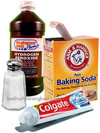 Homemade Tooth Whitener Recipe -   a safe and effective natural way to keep teeth white. Mix baking soda, hydrogen peroxide, table salt and a dab of toothpaste. (NOTE: hydrogen peroxide should not be swallowed)