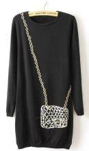 Black Long Sleeve Chain Satchels Print Sweater Dress $30 #SheInside