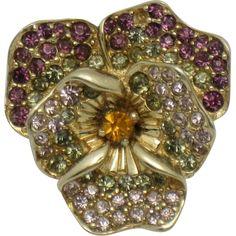 Marcel Boucher  Rhinestone Gold Plated Figural Pansy Flower Brooch
