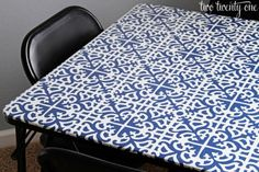 card table makeover with fabric