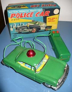 Linemar Battery Operated Remote Control Police Car NMIB Japan Tin B O Toy Boxed | eBay