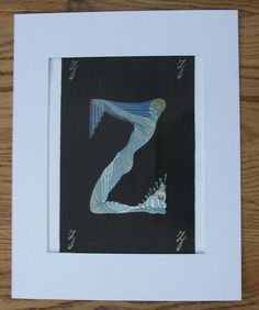 Erte Bookplate Print Alphabet Collection Letter V Semi Nude Twin