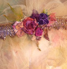 ❥ Rose Choker~ Silk, Beads, Velvet, Violet, Gold(tone)
