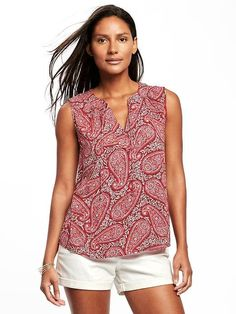 My most favorite underated model.. Relaxed Tie-Front Sleeveless Blouse for Women