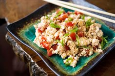 Eggs are nicely mimicked when you scramble firm tofu with vegetables or grains The point is not to fool anyone into thinking he is eating eggs, but to create a scramble that is easy and satisfying.