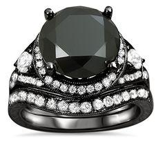 #blackdiamondgem 5.06ct Black Round Diamond Engagement Ring Bridal Set 14k Black Gold Plating Over White Goldby Front Jewelers - See more at: http://blackdiamondgemstone.com/jewelry/506ct-black-round-diamond-engagement-ring-bridal-set-14k-black-gold-plating-over-white-gold-com/#sthash.sq2PGgqm.dpuf