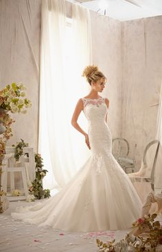 appliques delicately embroidered lace wedding dress picture 1