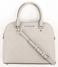 Michael Kors Women's Pearl Grey Cindy Medium Dome Stitched Leather Satchel Purse