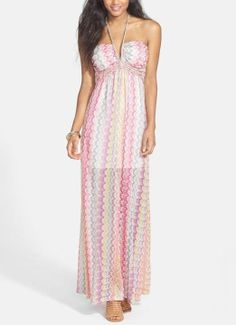 Pretty! Love the pink, yellow, teal and purple zig zag pattern on this beautiful halter maxi dress.
