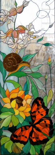 "Stained glass window in the ""Butterfly.""  Technique ""Tiffany"" fusing."