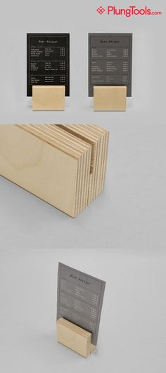made from a sturdier material – similar to the buh-bye box instead of paper? - Meine Tech World 2020 Cafe Menu Design, Signage Design, Menu Restaurant, Restaurant Design, Wood Menu, Menu Holders, Café Bar, Displays, Coffee Shop Design