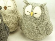 "Sleepy Owl Grey Felted Wool Lamb Wool Stuffing Height 7"" Eco Friendly Upcycled"