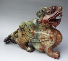 10 Chinese Nephrite Jade Fortune Pi Xiu Pi Xie Statue